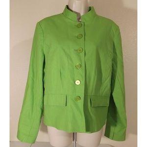 Lime Green Linen Cotton Nehru Career Blazer Jacket